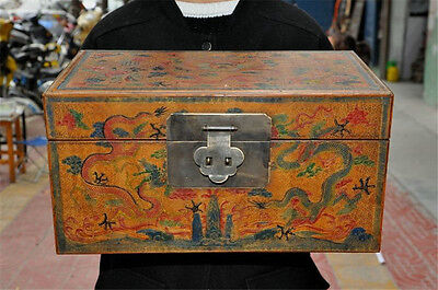 """16"""" Antiques Old Chinese lacquerware wood 5 Dragon Statue Jewelry Treasure boxes"""