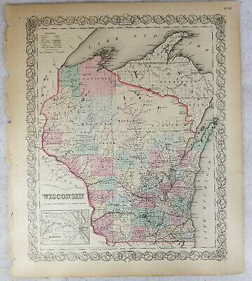 Antique Hand Colored Lithograph Map Wisconsin Colton's Atlas 1855