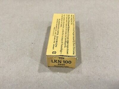 Box Of 10 Bussmann Buss Super-Lag Renewal Links LKN-100 250V #05G46