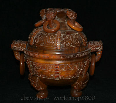 """8.8"""" Qianlong Marked Old China Cattle Ox Horn Dynasty Lion Beast Ring Pot Censer"""