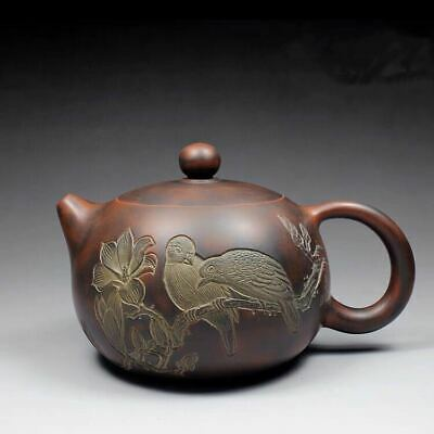 Fine Chinese old ceramics yixing zisha handmade flower bird xishi teapot marked