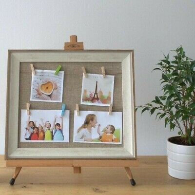 DIY Peg Photo Frame, Wooden Frame, Textile Canvas, Jute Card & Wooden Pegs