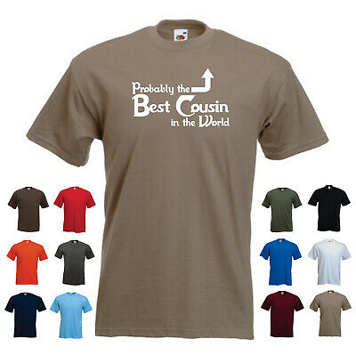 'Probably the Best Cousin in the World' Mens Tshirt SALE Olive Green Medium M