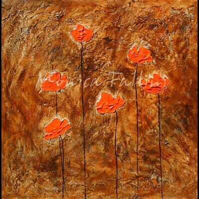 Abstract floral orange Poppies contemporary art 22 x 22 inches by Fallini