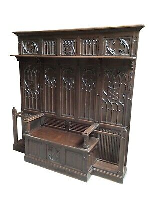 French Gothic Hall Tree & Bench Large Wall Statement, 19th Century, Walnut