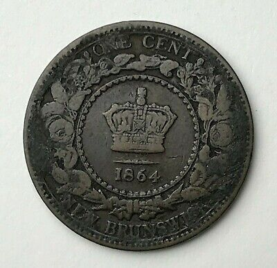 Dated : 1864 - Canada - New Brunswick - One Cent Coin - Queen Victoria