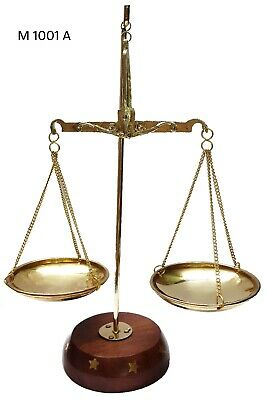 Antique Brass Polished Balance Scale with Wooden Base Apothecary Jewelry NEW