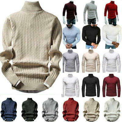 Mens Winter Warm Knitted High Roll Turtle Neck Pullover Sweater Jumper Top Shirt