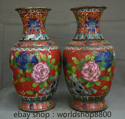 "16"" Old China Palace Cloisonne Enamel Flower Peony Bird Magpie Bottle Vase Pair"