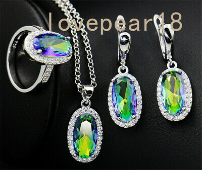Natural Rainbow blue Topaz gemstone 925 silver ring earrings pendant/necklace
