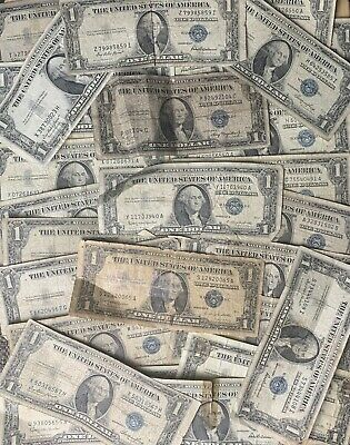 ✯LOT of 10 1935-1957 $1 SILVER CERTIFICATES RARE BLUE SEAL ONE DOLLAR BILL NOTES