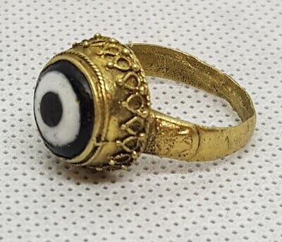 Ancient Evil Eyes Protection Agate Stone Wonderful Old Bronze Antique Ring