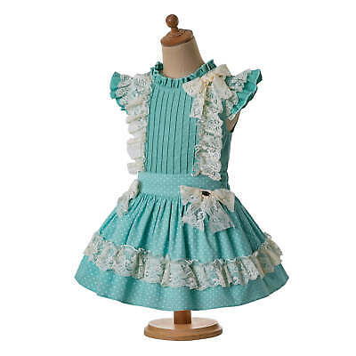 Spanish Girls Outfits Blouse Top Skirt Set Lace Polka Dot Birthday Party Summer