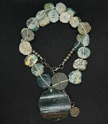 Rare Ancient Roman Glass With Excellent Patina Beautiful Necklace Silver Coin