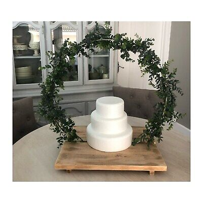 On-trend wooden rustic wedding cake base stand & hoop artificial faux eucalyptus