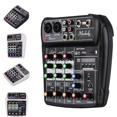 Muslady AI-4 Compact Sound Card Mixing Console Digital Audio Mixer BT MP3 USB In
