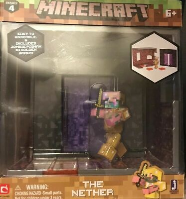 MINECRAFT SERIES 4 BIOME THE NETHER INCLUDES ZOMBIE PIGMAN IN GOLDEN ARMOR e9