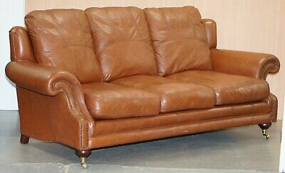 Rrp £3699 Medallion Upholstery Brown Leather Three Seat Sofa Part Of Large Suite