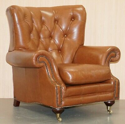 Rrp £1699 Medallion Upholstery Brown Leather Chesterfield Armchair Part Of Suite