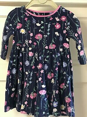Girls Joules Navy Blue Floral Design Long Sleeve Dress Age 3-4 years