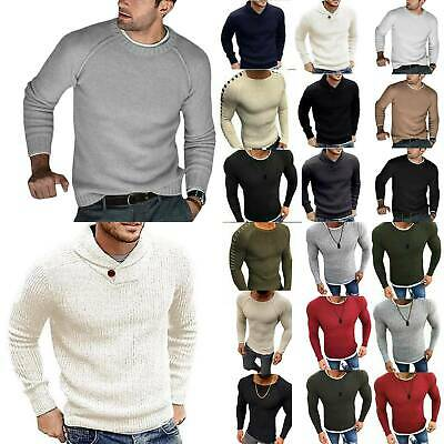 Mens Plain Knitted Hooded Long Sleeve Jumper Pullover Casual Sweater Winter Coat