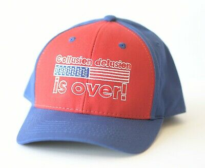 (2 Hats) Trump 2020  Collusion Delusion hat Proudly embroid in New Hampshire.