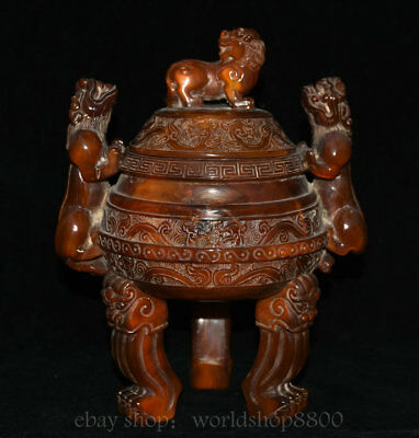"""10"""" Marked Old China Cattle Ox Horn Dynasty Lion Beast Ears Legs incense burner"""