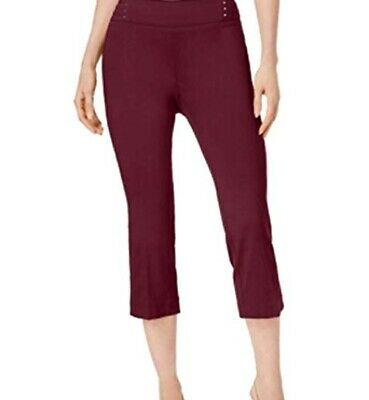 JM Collection Womens Capri Pants Medium Red Burgundy Elastic Pull On Stretch New