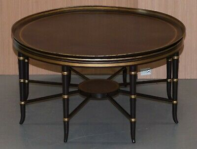 Stunning Maitland-Smith Large Round Coffee Table With Removable Bronze Tray Top