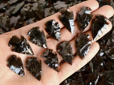 """1-1.25"""" Natural Handknapped BLACK OBSIDIAN Crystal Arrowheads ~50 pieces lot~"""