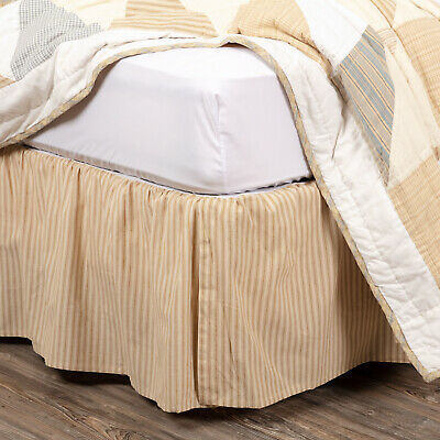 VHC Farmhouse Twin Bed Skirt Ticking Stripe Bedding Gathered Split Corners Blue