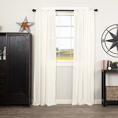 VHC Farmhouse Panel Pair Tobacco Cloth Curtains Rod Pocket Cotton