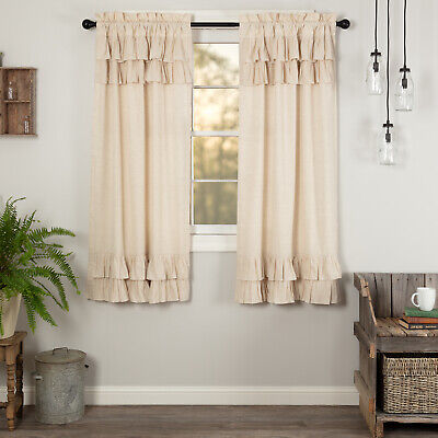 VHC Farmhouse Panel Pair Simple Life Flax Curtains Rod Pocket Flax