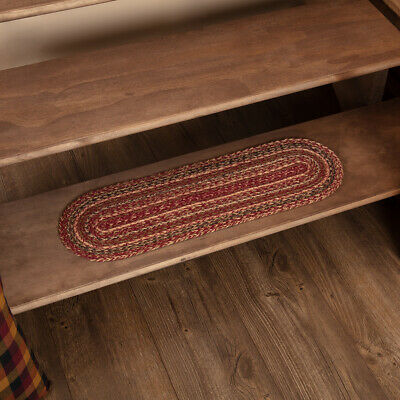 VHC Primitive Stair Tread Cider Mill Flooring Red Jute Striped