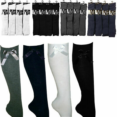 Girls Knee High School Uniform Socks Bow Children Cotton Blend Casual Plain Long