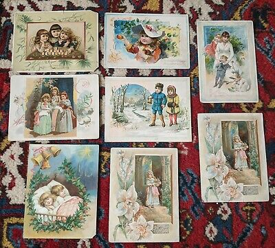 8 Large Lion Coffee Trade Holiday Cards Woolson Spice Advertising Antique