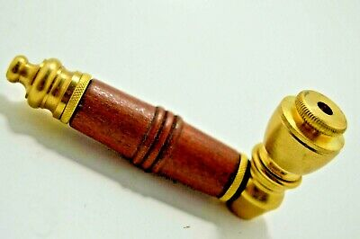 """Solid Brass Tobacco Herb Smoking Pipe  5 3/4"""" Screens"""