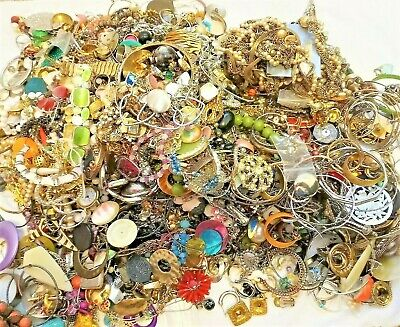 Huge Lot Jewelry Vintage Now Junk Craft Box FULL POUNDS Necklace Brooch Earring+