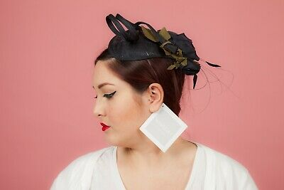 Navy blue teardrop tweel feathered fascinator comb by Whiteley Wedding Races
