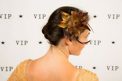 Brown feathered flower fascinator comb  - Wedding Races Occasion wear