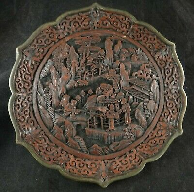 """Antique Chinese Carved Red Cinnabar 9"""" Plate. Village Scene, Qing Dynasty"""