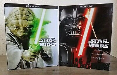 Star Wars Trilogy & Prequel Trilogy (Blu-ray/DVD, 2013) Complete w/ Slipcovers