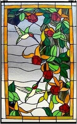 "32"" x 20 Hummingbird Floral Tiffany Style Stained Glass Window Panel w/ Chain"