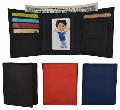 New Boys Slim Thin Nylon Trifold Wallet with Coin Pouch