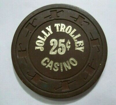 Vintage 25¢ chip from the Jolly Trolley Casino Las Vegas Nv Strip