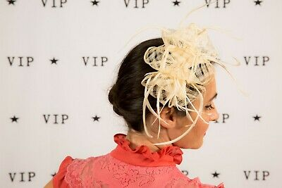 Cream checkered lattice feathered comb fascinator - Wedding Races Bridal tiara
