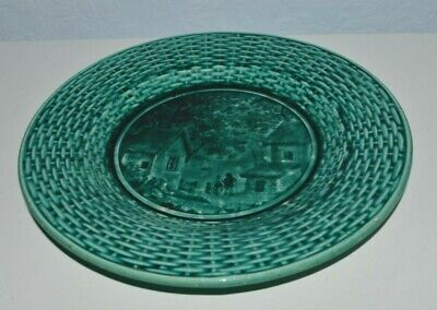 Antique Rubelles S & M French 19th century green plate, village pattern
