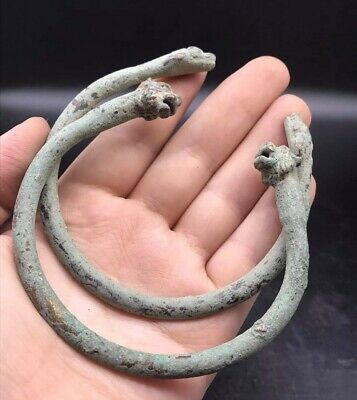 Extermly Amzeing Very Old Tiger Head & Snake Heads Roman Bronze Pair Bangles