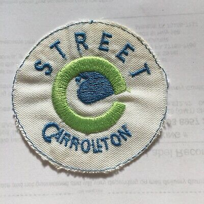 Vintage Street Carrollton Embroidered Collector Patch Round White N3