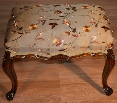1910s Antique French Walnut Bench / stool New Upholstery